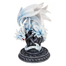 frost white dragon statue 9 inch cold cast resin detailed dragon art