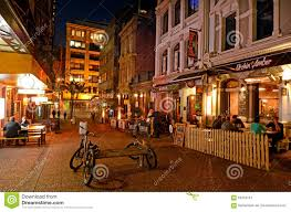 cosmopolitan city vulcan lane in auckland downtown at night editorial photography
