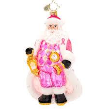 christopher radko breast cancer ornament 2014 pretty in pink santa
