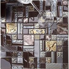 Mosaic Tile Backsplashes by Brown Mosaic Tile Crystal Glass Tile 304 Stainless Steel Tile