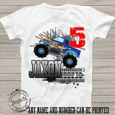 monster truck shirt kids personalized 5th birthday stoykots