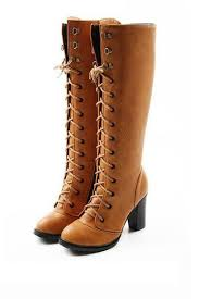 light brown combat boots light brown faux leather lace up chunky heel boots 014857 womens