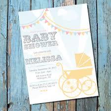 vintage pram baby shower invitation