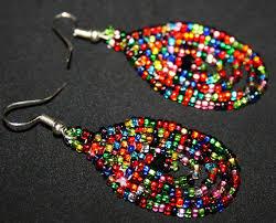 Native American Beaded Earrings Huichol Small Sparkling Beaded Earrings Native American Beaded
