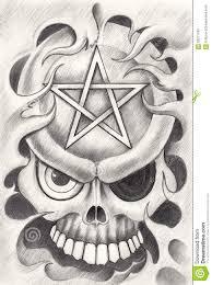art skull pentagram tattoo stock illustration image 66271780