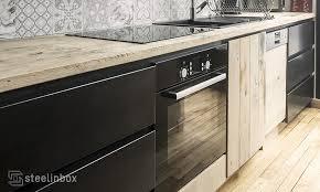 cuisine bois acier la cuisine à vos mesures pose comprise steel in box