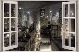 huge 3d window view fantasy new york city wall sticker decal shop categories