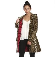 members only womens vegan faux fur leopard trench coat