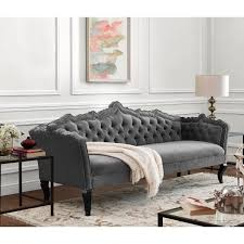 Wooden Frame Couch Tov Furniture Brooks Tufted Grey Velvet Sofa W Ornate Hand Carved