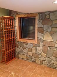 decor faux stone wall with windows and wooden floor for home