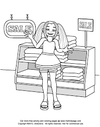 shopping kid free coloring pages kids printable colouring