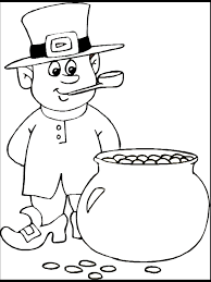 st patrick u0027s day coloring page leprechaun with a pot of gold