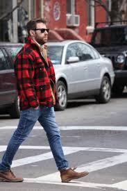 men u0027s red and black check barn jacket blue jeans brown leather