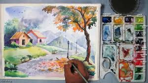how to paint a beautiful scenery in watercolor step by step