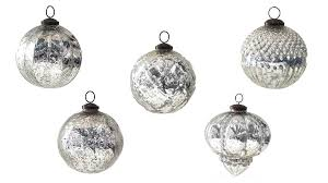 set of five traditional large mirrored glass ornaments by trinca