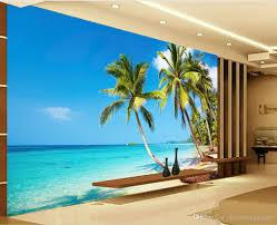 high definition sunny sea beach coconut palm tv wall mural 3d 52