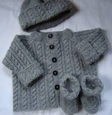 baby boy sweater set hat booties knit gray by swanavenue