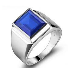 silver ring for men aaa blue zircon silver rings men s qat jewellery