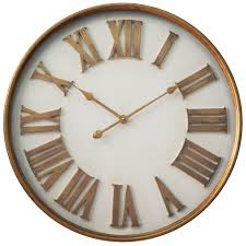Designer Mobel Verbranntem Holz Infinity Instruments White With Gold Roman Numerals 27 Inch Wall