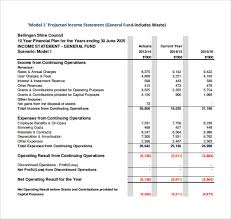sample projected income statement template 11 free documents