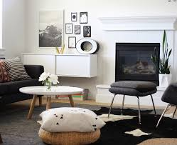 sofa with chaise living room modern with cowhide rug fireplace