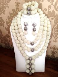 silver ball beads necklace images Statement african coral jewelry beads jewelry set jpg