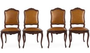 4 Dining Chairs Set Of 4 Walnut Leather Dining Chairs Sold Ruby