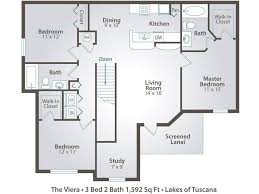 3 bedroom floor plan apartment floor plans pricing lakes of tuscana in port