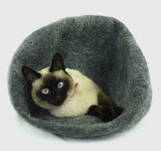 cat cave bed house igloo nap cocoon from natural wool felt home