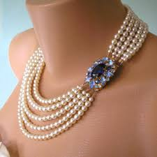 sapphire pearl necklace images Wedding jewelry statement necklace from crystalpearljewelry on jpg