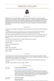 Resume Sample For Housekeeping by Housekeeper Resume Samples Visualcv Resume Samples Database