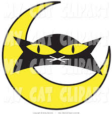 clip art of a black cat u0027s face with a yellow crescent moon on