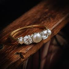 pearl and diamond engagement rings heavenly antique edwardian pearl and diamond ring fetheray