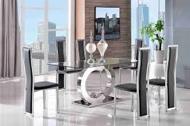 Tempered Glass Dining Table Channel 160cm Steel U0026 Clear Glass Dining Table With 4 Faux Leather