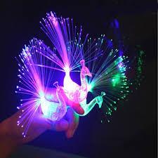 3pcs led glow peacock finger light laser beams ring optical fiber