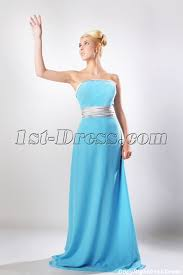 bridesmaid dresses silver blue floor length chiffon bridesmaid dress with silver waistband