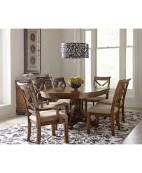 mandara round expandable dining trestle table furniture macy u0027s
