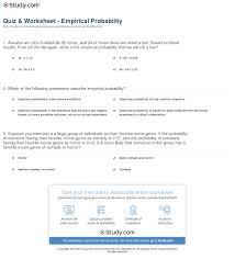 quiz u0026 worksheet empirical probability study com