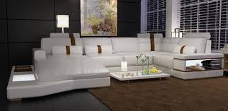 Modern White Bonded Leather Sectional Sofa Modern White Bonded Leather Sectional Sofa With Built In Lights