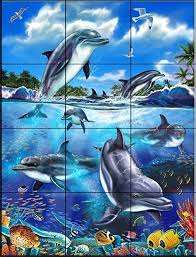 Bathroom Wall Murals Uk Dolphin Reef I By Interlitho Designs Tile Mural For Kitchen