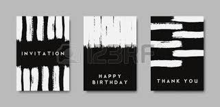 a set of hand drawn style greeting card templates in black white