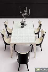 italian style contemporary dining table solid wood with tempered