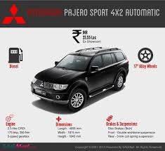 pajero sport mitsubishi mitsubishi pajero sport amt specifications and price visual ly