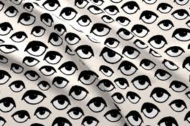 eyes eye fabric creepy scary spooky cute halloween fabric