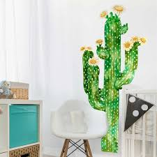 saguaro cactus watercolor wall decal tall cactus wall mural by lightbox moreview