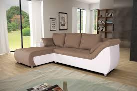canapé d angle contemporain canapé d angle contemporain convertible en tissu brun pu blanc isaac