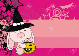 holloween background bunny baby cartoon halloween background in vector format royalty
