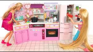 barbie doll japanese kitchen refrigerator toy unboxing ثلاجة