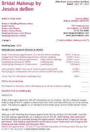 makeup contracts for weddings wedding contract templates wedding contracts for hair and makeup