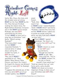 reindeer games right left family printable christmas game